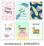 summer set of sale banner... | Shutterstock .eps vector #649618921