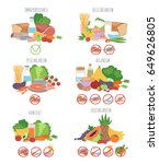 nutririon diet food types... | Shutterstock .eps vector #649626805