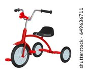 children's red tricycle with... | Shutterstock .eps vector #649636711