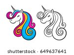color lovely unicorn  outline ... | Shutterstock .eps vector #649637641