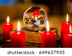 crystal ball to prophesy or... | Shutterstock . vector #649637935