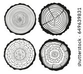 tree rings. set of cross... | Shutterstock .eps vector #649639831