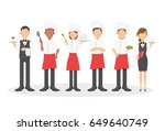 group of head chefs  man and... | Shutterstock .eps vector #649640749