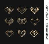 set of art deco geometric... | Shutterstock .eps vector #649642354