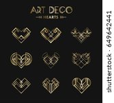 set of art deco geometric... | Shutterstock .eps vector #649642441