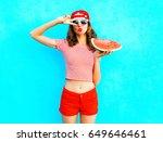 fashion pretty slim woman is... | Shutterstock . vector #649646461