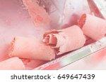 stir fried ice cream rolls at... | Shutterstock . vector #649647439
