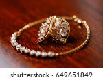 gold bracelet and earrings for... | Shutterstock . vector #649651849