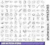 100 hi tech icons set in... | Shutterstock .eps vector #649652485