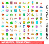 100 house cleaning icons set in ... | Shutterstock .eps vector #649652491