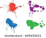 colorful paint splatters.paint... | Shutterstock .eps vector #649653421
