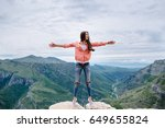 joyful woman travel mountains.... | Shutterstock . vector #649655824