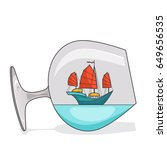 color ship with red sails in... | Shutterstock .eps vector #649656535