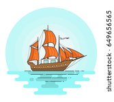 color ship with orange sails in ... | Shutterstock .eps vector #649656565
