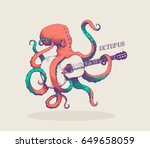 octopus. vector illustration of ... | Shutterstock .eps vector #649658059