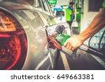 car refueling in tank on petrol ... | Shutterstock . vector #649663381