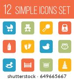 set of 12 child icons set... | Shutterstock .eps vector #649665667