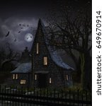 3d Illustration Of A Haunted...
