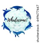 illustration with whales.... | Shutterstock .eps vector #649677667