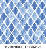 Stock vector seamless blue watercolor moroccan pattern background vector 649682404