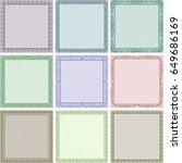 set of vintage frames with... | Shutterstock .eps vector #649686169