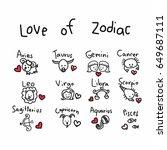 love of zodiac cute cartoon