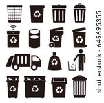 trash cans  garbage and... | Shutterstock .eps vector #649695355