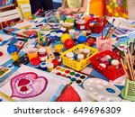 kindergarten tables with... | Shutterstock . vector #649696309