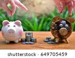 compare saving coins more and... | Shutterstock . vector #649705459