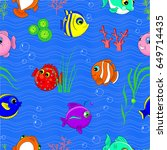 cute seamless pattern with fish ... | Shutterstock .eps vector #649714435
