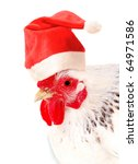 Portrait of white hen in a Santas hat, isolated on white,. - stock photo