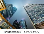 cityscape of hong kong at night ... | Shutterstock . vector #649715977