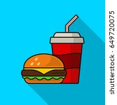 hamburger and cola flat icon... | Shutterstock .eps vector #649720075