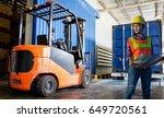 women worker with forklift in...   Shutterstock . vector #649720561