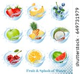 big collection of fruit in a... | Shutterstock .eps vector #649731979