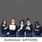 group of diverse students using ... | Shutterstock . vector #649733581