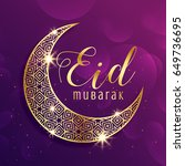 beautiful gold moon eid mubarak ... | Shutterstock .eps vector #649736695