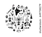indian icons circle set  vector ... | Shutterstock .eps vector #649738279