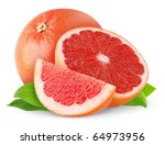 Pink Grapefruits Isolated On...
