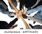 group of people holding hand... | Shutterstock . vector #649741654