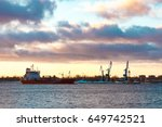red cargo oil tanker moving to... | Shutterstock . vector #649742521