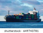 modern grey container ship... | Shutterstock . vector #649743781