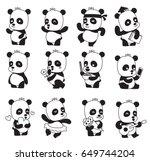 vector set of twelve cartoon... | Shutterstock .eps vector #649744204