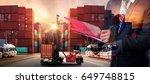double exposure of businessman... | Shutterstock . vector #649748815