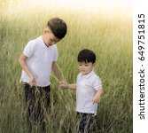 Small photo of Brother and little brother playing in a meadow, Sunset
