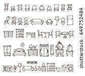 hand drawn furniture sketch... | Shutterstock .eps vector #649752484