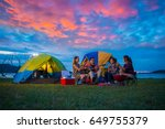 camping of happy asian young... | Shutterstock . vector #649755379