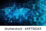 future technology  blue world... | Shutterstock .eps vector #649758265
