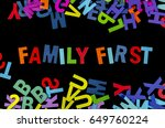 colorful family first words...   Shutterstock . vector #649760224
