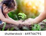 asian little girl and parent... | Shutterstock . vector #649766791